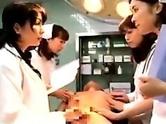 Lustful Japanese physicians putting their hands to work on a t