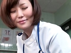 Subtitled CFNM Japanese dame doctor gives patient hand job
