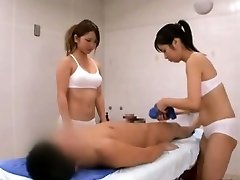 Subtitled CFNM Chinese sauna chick duo penis cleaning