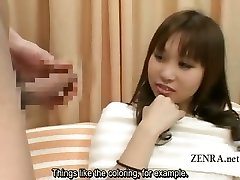 Subtitled Asian CFNM erection closeup with amateur