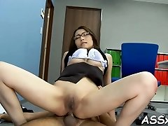 Magnificent asian enjoys stimulating toying for her pussy and ass-fuck