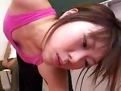 Pantyhosed Oriental cutie displays her big bumpers and worsh