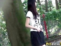 Asian teen pee public