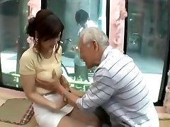 Candid young japan girl be tempted by old man