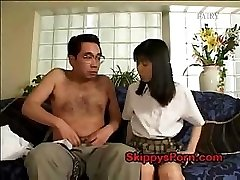 Japanese college girl gets her labia licked by an older man