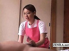 Subtitled CFNM Japanese caregiver elderly man handjob