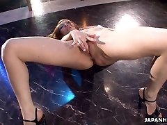 Asian stripper getting mischievous on the pole as she faps