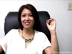 Asian Cougar Gloryhole Interview Blowjob