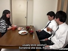 Too tired husband falls asleep while his colleague romps his wife Risa Kurokawa