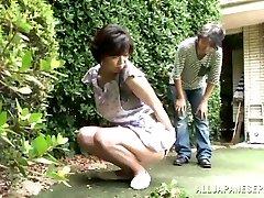 Japanese AV Model is a horny maid enjoying a hard shagging