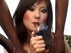 Russian Call Girl Lyuba B smoking cigar with Big Black Cock