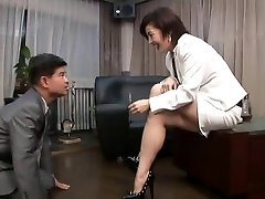 asian foot female dom smoking with cigarette possessor