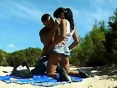 Nude Beach - Little Melons Asian Analized & CIM Facial Cumshot