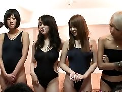 Japanese swimsuit stunners in orgy