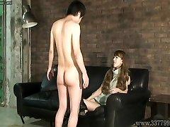 CFNM Japanese femdom Ruri like to observe a young nude man ma