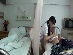 Japanese nurse loves sucking two partThree