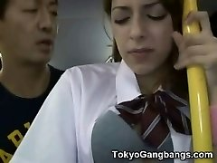 Milky Teen Public Bus Hump in Japan!