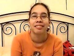 Amateur - Cute Asian Glasses Teenager Romped & Facial