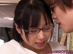 Innocent chinese firsttimer geek pummeling in glasses