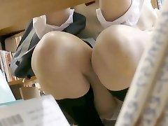 Mini skirt JK in library 2