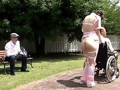 Subtitled bizarre Japanese half nude caregiver outdoors