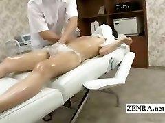 Subtitled shy Japanese schoolgirl first glamour massage