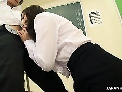 Smoking hot Asian teacher gargling hard on the dick