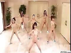 Japanese girls go nudist and exercise with aerobics in the buff