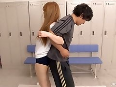 Sport training turns into threesome for cute Asian gal