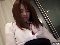 Asian office nymph getting her bush toy fucked