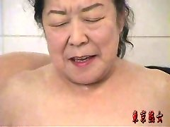 Japanese grandma enjoying sex