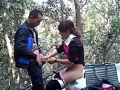 Japanese street prostitute fuckt in the woods