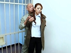 Sanae Asou hot mature Asian stunner in police costume smashes behind bars