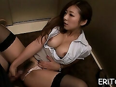 Oriental girl gets her gullet filled with a huge dick
