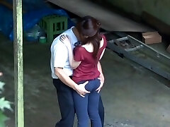 Horny, sensuous and messy Asian couple making out and outdoor fucking