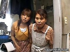 Horny chinese MILFS sucking and fucking