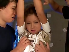 Bad little Asian girl gets punished by two spunk-pumps