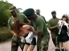 Asian sex slave gets drilled in military group fucky-fucky
