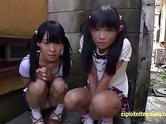 Petite Jav Teenager Schoolgirls Rina And Asami Give Public Blowjob And Urinate