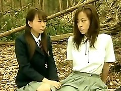 Super-naughty Asian Lesbians Outside In The Forest