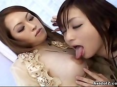 Japanese lesbians playing with fake penises