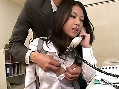 Awesome kawaii Asian office slut sucks two strong cocks at work