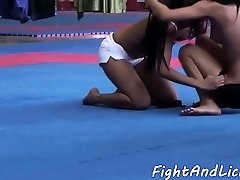 Asian dyke licks babes pussy after grappling