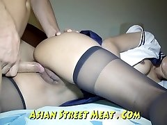 Culo Fucked haning On Asian Balcony