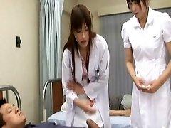 Rika Nagasawa and Mao Sakurai Naughty Japanese nurses make internal ejaculation clinic