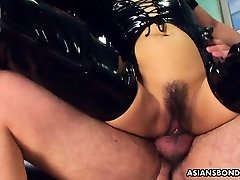 Fucking her wet beaver as she wears her PVC footwear