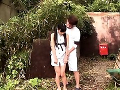 Lil japanese thighfucked outdoors