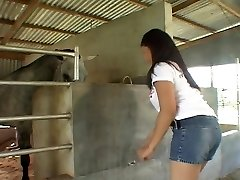Riding Asian fuckpole in the stables