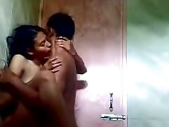 indian teen in douche with her beau