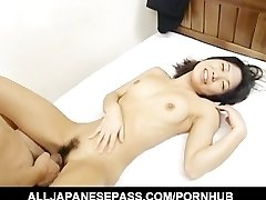 Miku showcases off her pretty hairy vagina before opening up her legs for a hard